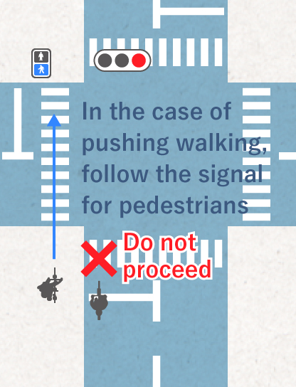 When walking pushing your bicycle, follow the signal for pedestrians