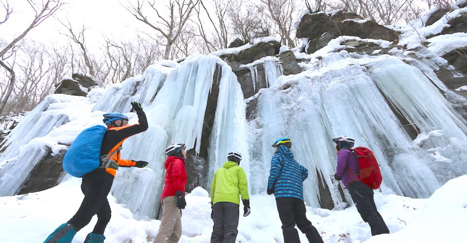 Oirase gorge, snow ride of glimmering white snow