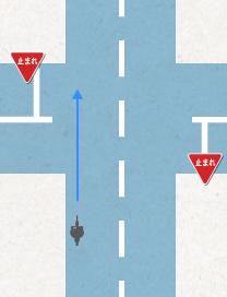 信号のない交差点